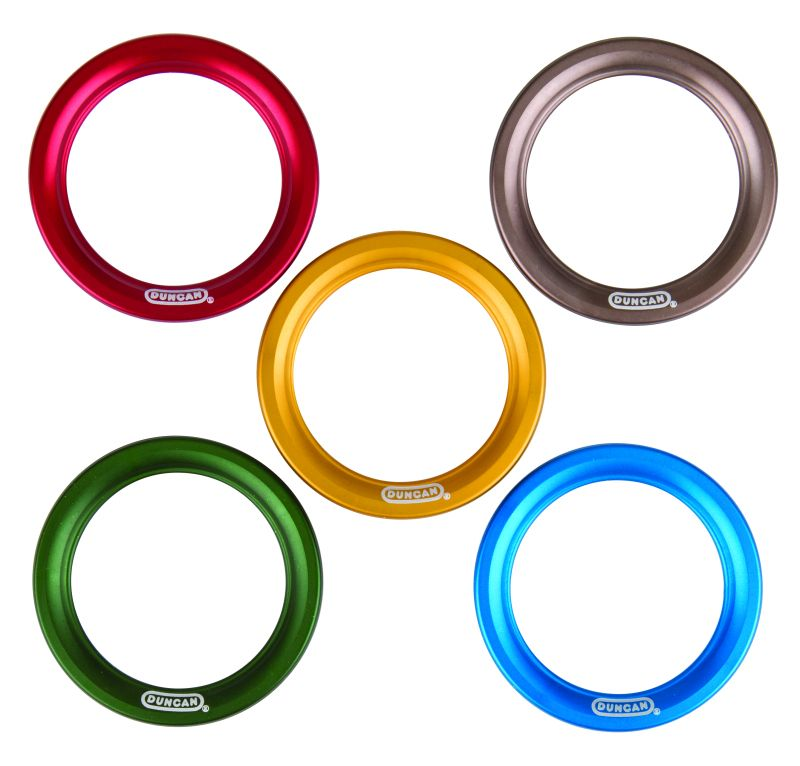 red silver yellow green and blue Duncan yo-yo performance rings