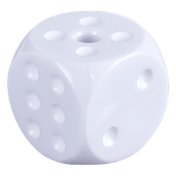 Counterweight - White Die counterweights, dice, pip, pips, 5A, freehand