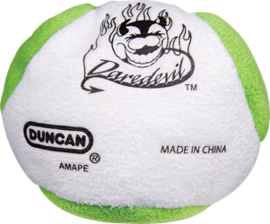 white and green Duncan Daredevil footbag