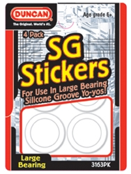 A package of white SG stickers for Duncan Yo-yos